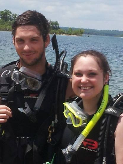 SCUBA diving for algae samples in lakes, undergraduate research project.